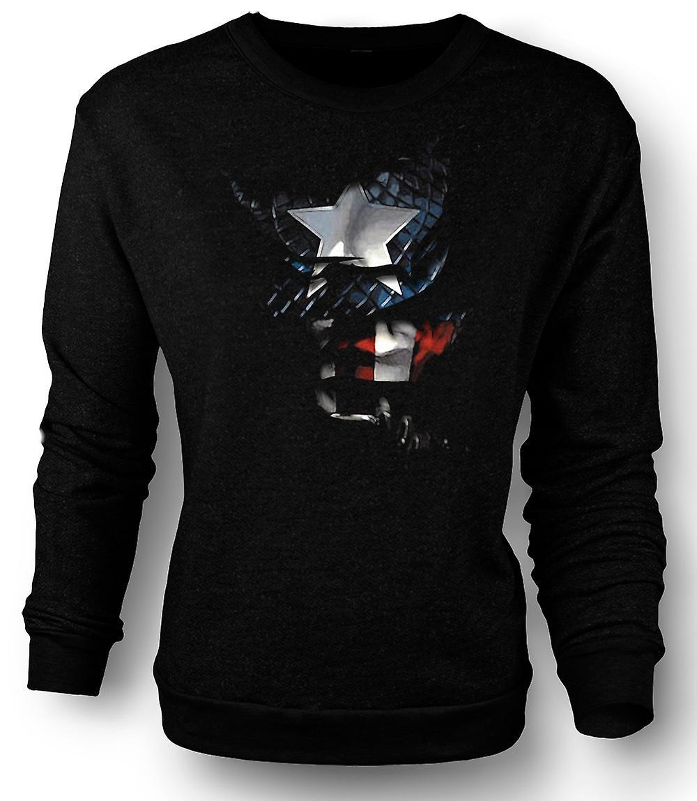 Mens Sweatshirt Captain America - dratt effekt