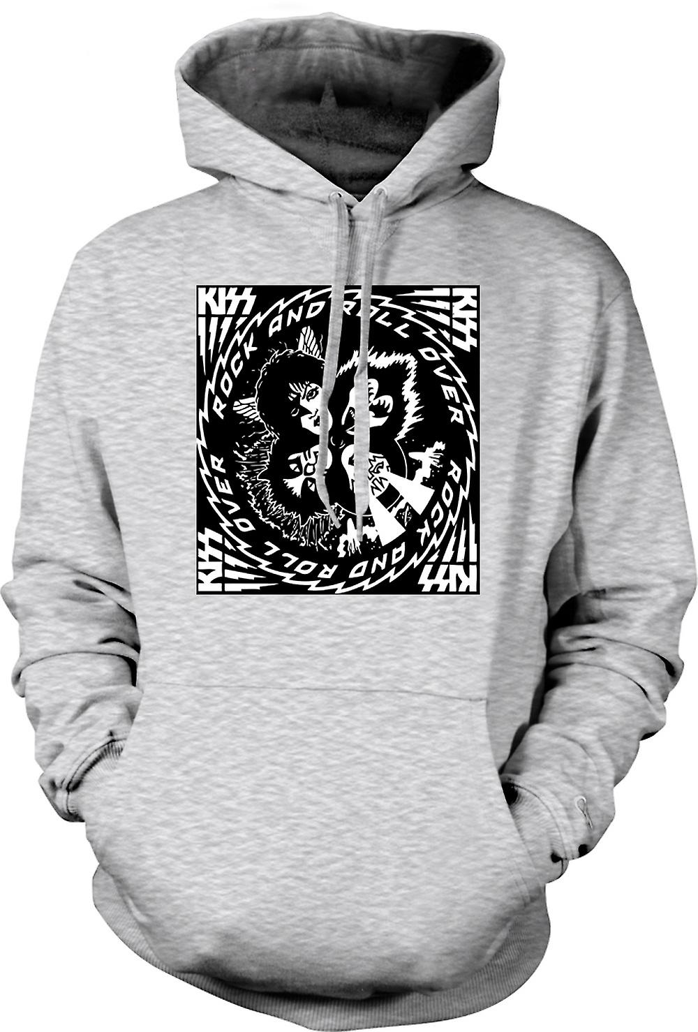 Mens Hoodie - Kiss - Rock And Roll - Over Music