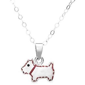Jo For Girls Sterling Silver Pink Enamel Scottie Dog Pendant Necklace 14