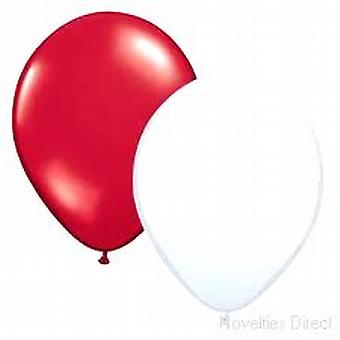 """Balloons Standard 12"""" Red And White"""