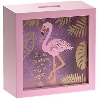 18X18Cm Pink Glass Flamingo Money Box Summer Theme Home D�cor