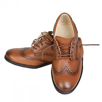 Boys Brand New Tan Patent Formal Brogue Shoes