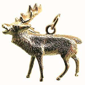 9ct Gold 26x20mm Stag Rutting Pendant or Charm