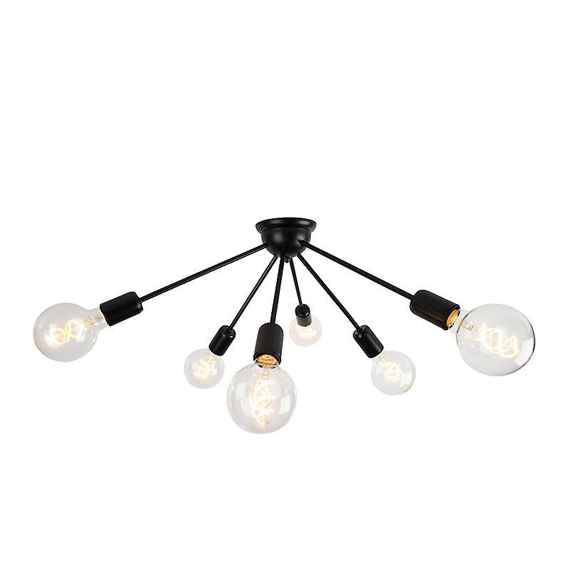 QAZQA plafond moderne lampe 6 noir - Spoutnik