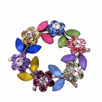 Dainty Round Multi Crystals Flower Brooch