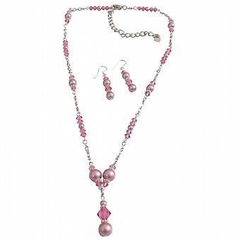 Bridal Swarovski Pink Crystals Rose Pearls Jewelry Set