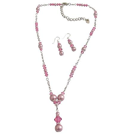 Bridal Swarovski Pink Crystals Rose Pearls Jewelry Set