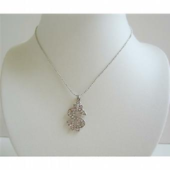 Dollar Sign in Ice Shimmering all covered w/ CZ Necklace Choker Style