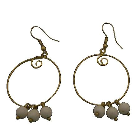 Fashionable Modern Wear White Turquoise Gold Oxidize Dangling Earrings