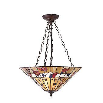 Estilo Tiffany grande Bernwood invertido tres luz techo colgante - interiores 1900 63949