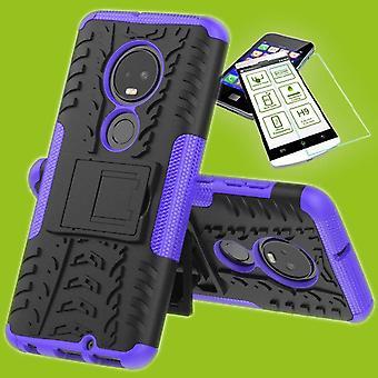 For Motorola Moto G7 / G7 plus hybrid case of 2 piece purple + tempered glass bag case cover sleeve