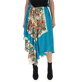 Gucci Light Blue Silk Skirt