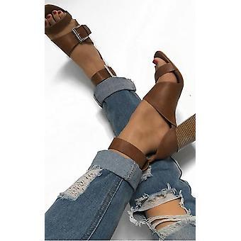 IKRUSH Womens Martha Buckle Block Heels