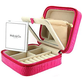 Mele Square Ladies-Girls Fuchsia-Hot Pink Jewellery Box With Mirror
