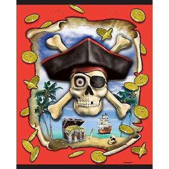 Printed Party/Lucky Dip Loot Bags 18cm X 24cm 8/Pack - Pirates