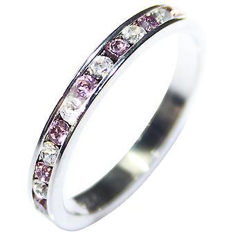 Ah! Smycken ljus ametist & tydlig AAA Grade finaste CZ Full evighet Ring Band