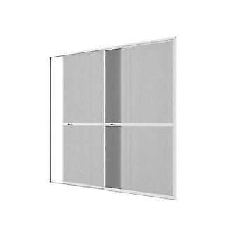 Double sliding door fly screen door Kit insect protection 240 x 240 cm in white