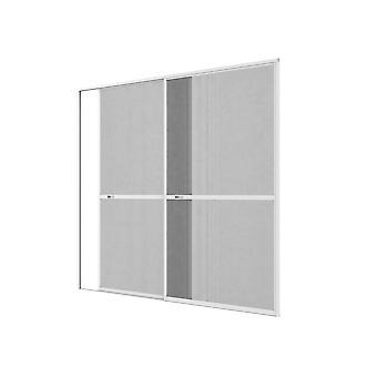 Doppel-Schiebe-Tür Fliegengitter Türbausatz Insekten-schutz 240 x 240 cm in Weiß