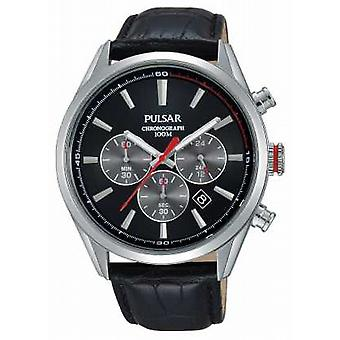 Pulsar Mens Chrono Black Leather Strap Black Dial PT3729X1 Watch
