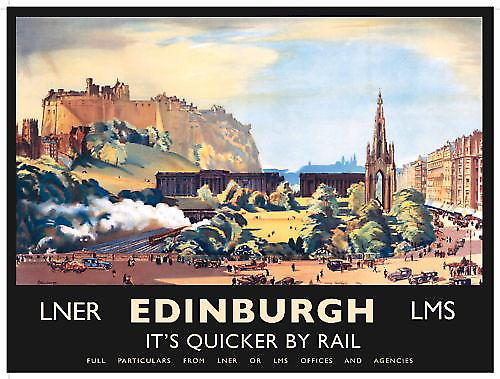 Edinburgh Quicker By Rail (old rail ad.) metal sign  (og 4030)