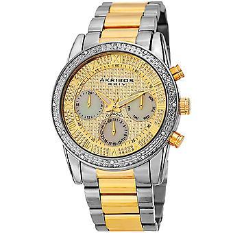 Akribos XXIV diamante de los hombres acentuado madre de perla brillante dial de acero inoxidable reloj pulsera AK1040TTG