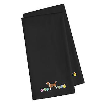Beagle Pasen zwart geborduurd keuken handdoek Set van 2