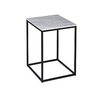 Gillmore Space White Marble And Black Metal Contemporary Square Side Table