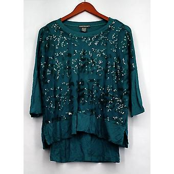 Kate & Mallory Top 3/4 Dolman Sleeve Top w/ Embellished Green A423064