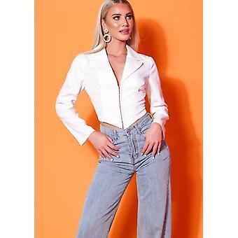 Cropped Corset Style Shirt White
