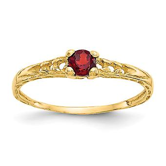 14k Yellow Gold Polished 3mm Garnet for boys or girls Ring - Size 3