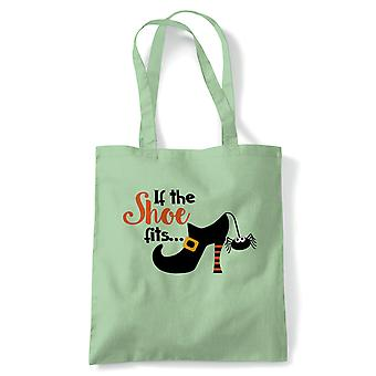 If The Shoe Fits Tote | Halloween Fancy Dress Costume Trick Or Treat | Reusable Shopping Cotton Canvas Long Handled Natural Shopper Eco-Friendly Fashion