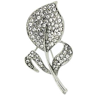 Brooches Store Silver  and  Crystal Flat Leaf Corsage Brooch