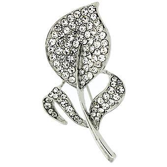 Magasin de broches argent et cristal plat feuille broche de Corsage