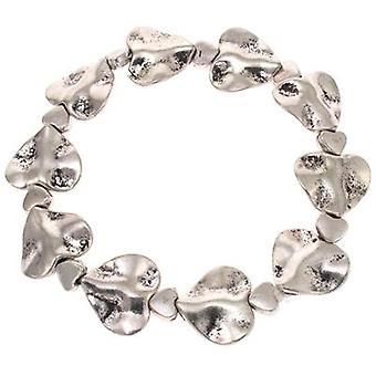 Antique Silver Hammered Love Heart Stretch Bracelet