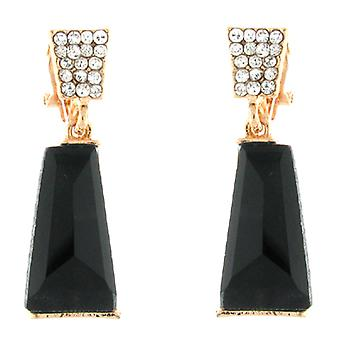 Clip On Earrings Store Gold Black Trapezium Stone  and  Clear Crystal Drop Clip