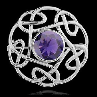 Brooches Store Sterling Silver Celtic Brooch with Amethyst Purple Stone