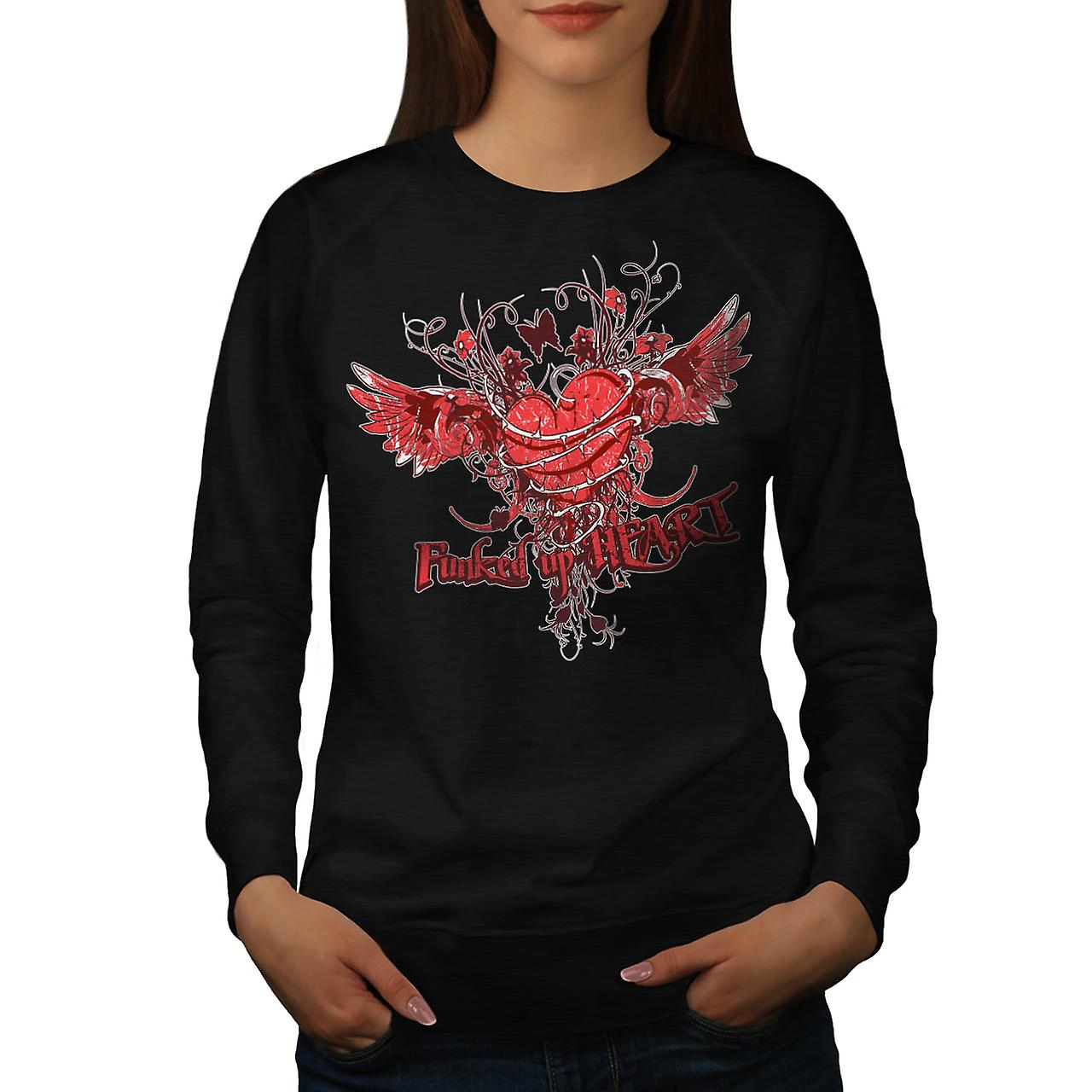 Funked Up Heart Love Thorn Rose Women Black Sweatshirt | Wellcoda