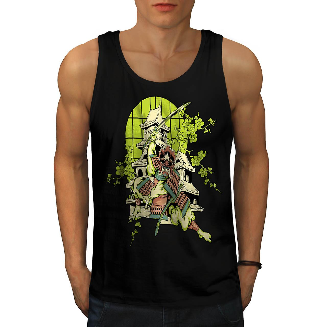 Samurai Warrior House Asian Mask Men Black Tank Top | Wellcoda