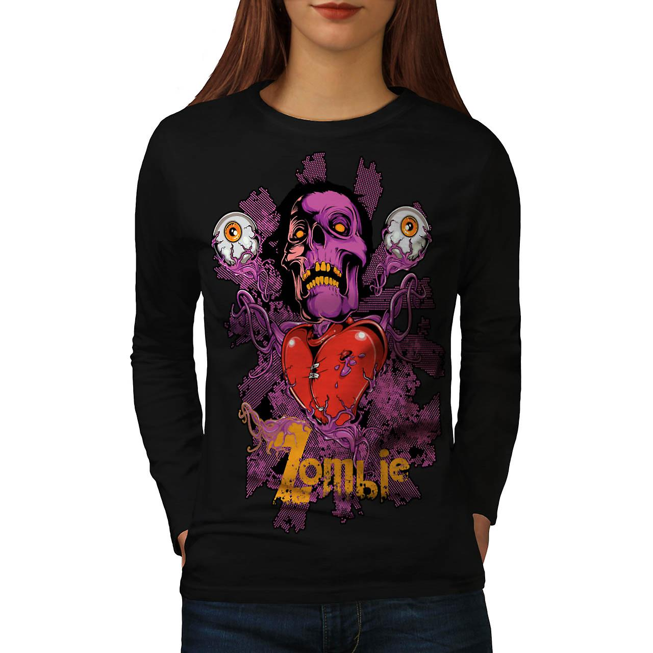 Zombie Crazy Eye Head Skull Love Women Black Long Sleeve T-shirt | Wellcoda