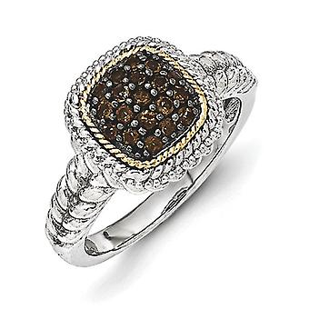 Sterling Silver With 14k and Black Rhodium Smokey Quartz Ring - Ring Size: 6 to 8