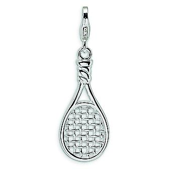 Sterling Silver Rhodium-plated Fancy Lobster Closure 3-D Polished Tennis Racket With Lobster Clasp Charm - Measures 35x1