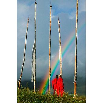 Rainbow and Monks with Praying Flags Phobjikha Valley Gangtey Village Bhutan Poster Print by Keren Su