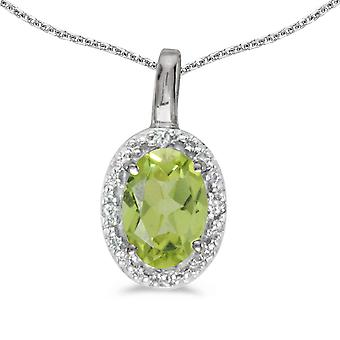 10k White Gold Oval Peridot And Diamond Pendant with 18