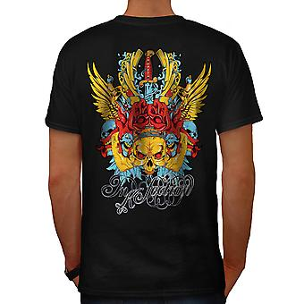 Rose Poker Gamble Skull Men Black T-shirt Back | Wellcoda