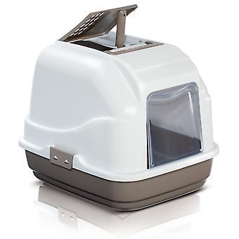 Easy Cat Deluxe Hooded Cat Toilet Dove Grey 50x40x40cm