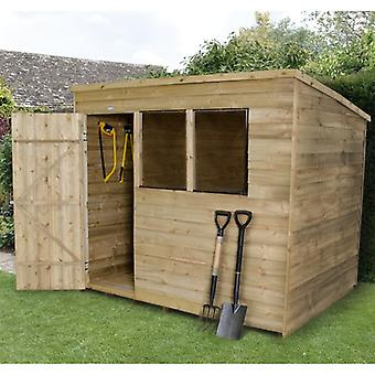 Forest Garden 8 x 6 Overlap Pressure Treated Pent Garden Shed