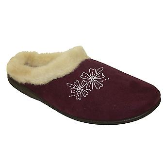 Ladies Famous Coolers Microsuede Warm Faux Fur Lined Slip-On Mule Slippers
