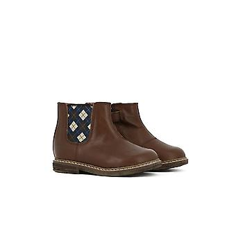 Pom D'Api Brown Leather Chelsea Boots With Patterned Elastic