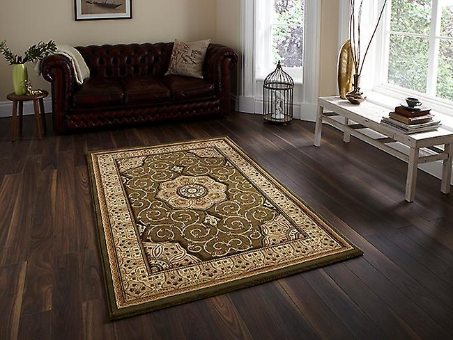 Patrimonio 4400 verde un fondo verde con una cortesía frontera beige rectángulo alfombras alfombras tradicionales