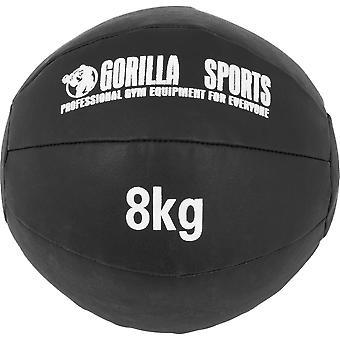 Medizinball aus Leder in Schwarz 8 kg